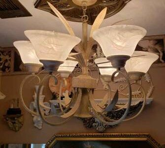 7 Light Beige Antique Chandelier with Frosted Globes – $125
